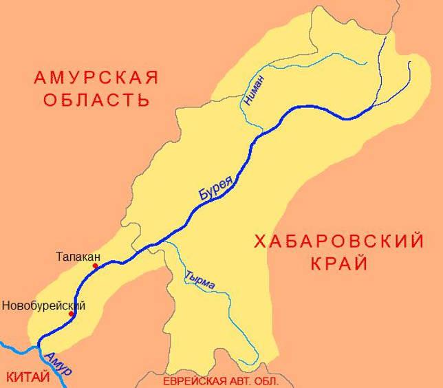 Река Бурея на карте